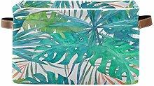 JNlover Tropical Palm Leaves Square Storage Basket