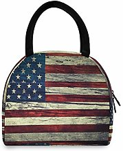 JNlover Vintage American Flag Insulated Lunch Bag