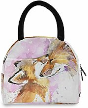 JNlover Watercolor Animal Fox Insulated Lunch Bag