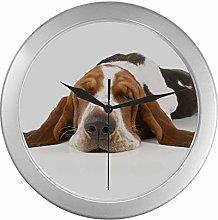 JOCHUAN Wall Clocks Round Basset Hound Isolated On