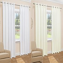 John Aird Evie Lined Voile Eyelet Curtains (Cream,