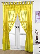 John Aird Pair Of Woven Voile Tab Top Curtain