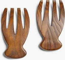 John Lewis & Partners Carbonised Ash Wood Salad Server Hands