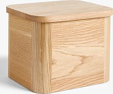 John Lewis & Partners Oak Wood Half Loaf Bread Bin