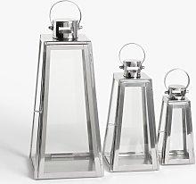 John Lewis & Partners Pimlico Lantern Candle Holders, Set of 3, Silver