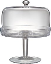 John Lewis & Partners Serve Glass Cake Stand and Dome, 20.8cm, Clear