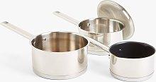 John Lewis & Partners Stainless Steel Pan Set, 4