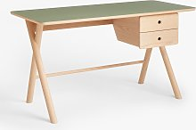 John Lewis & Partners X Frame Desk, Natural/Green