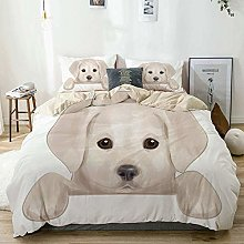Jojun Duvet Cover Set Beige,Baby Cute Puppy Hiding