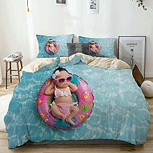 Jojun Duvet Cover Set Beige,Baby Girl Sleeping on