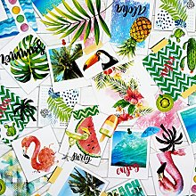 Jolee Fabrics Pink green and Blue Flamingoes and