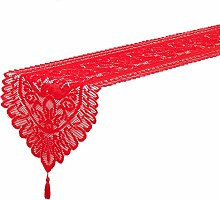 JOMAE Shop Christmas Lace Table Runner Red Table
