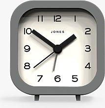 Jones Clocks Bob Analogue Alarm Clock, Grey