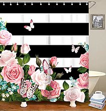 JOOCAR Black and White Stripes Shower Curtain Set