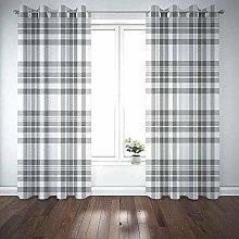 JOOCAR Curtain Panels Tartan Plaid Pattern in Grey