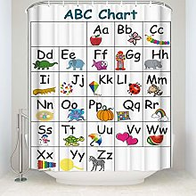 JOOCAR Design Shower Curtain, Animal Abc Chart