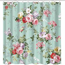 JOOCAR Design Shower Curtain, Aqua Rose Flower