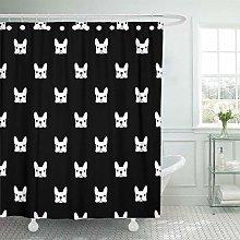 JOOCAR Design Shower Curtain, Black Puppy French