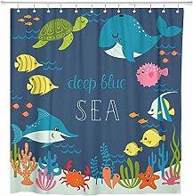 JOOCAR Design Shower Curtain, Blue Animal Cute Sea