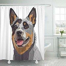 JOOCAR Design Shower Curtain, Blue Heeler
