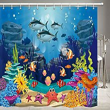JOOCAR Design Shower Curtain, Blue Ocean Tropical