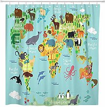 JOOCAR Design Shower Curtain, Cartoon Animal Map