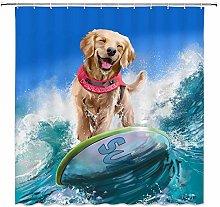 JOOCAR Design Shower Curtain, Creative Dog Surfing