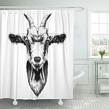 JOOCAR Design Shower Curtain, Drawing Goat Head