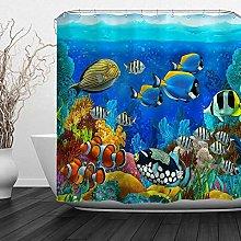 JOOCAR Design Shower Curtain, Fish Ocean Clear