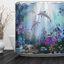 JOOCAR Design Shower Curtain, Kids Ocean Clear