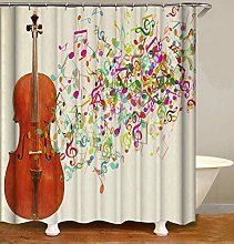 JOOCAR Design Shower Curtain, Music Brown Violin