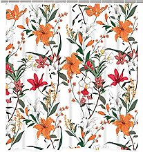 JOOCAR Design Shower Curtain, Orange Flowers Lily