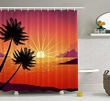 JOOCAR Design Shower Curtain, Palm Tree Tropical
