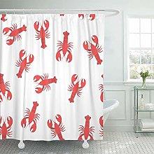 JOOCAR Design Shower Curtain, Pattern Red Lobster