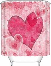 JOOCAR Design Shower Curtain, Pink Love Heart