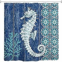 JOOCAR Design Shower Curtain, Seahorse Watercolor