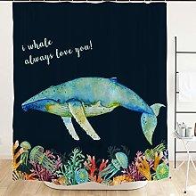 JOOCAR Design Shower Curtain, Whale Always Love