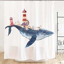 JOOCAR Design Shower Curtain, Whale and Lighthouse