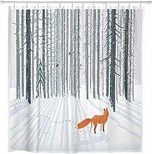 JOOCAR Design Shower Curtain, White Snow Winter