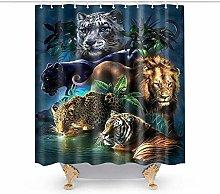 JOOCAR Design Shower Curtain, Wild Tiger Lion