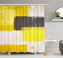 JOOCAR Design Shower Curtain, Yellow and Grey