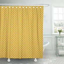 JOOCAR Design Shower Curtain, Yellow Polkadot Gold
