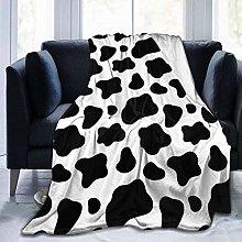 JOOCAR Flannel Throw Blanket Cow Print Black and