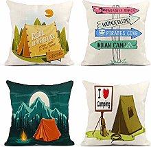 JOOCAR Pillowcase Set of 4 Camping Tent Direction