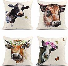 JOOCAR Pillowcase Set of 4 Watercolor Cow Daisy