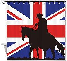 JOOCAR Silhouette On UK Flag Shower Curtain Bath