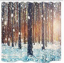 JOOCAR Winter Forest Shower Curtain, Pine Trees