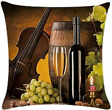 JOOFFF Throw Pillow Case Red Wine Bottle Pattern