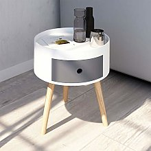 Joolihome End Table, Wooden Round Bedside Coffee