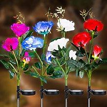 Joomer Solar Flower Lights, 4 Pack Multi-Color